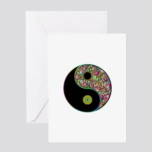 Yin Yang Symbol Psychedelic Colors Greeting Cards