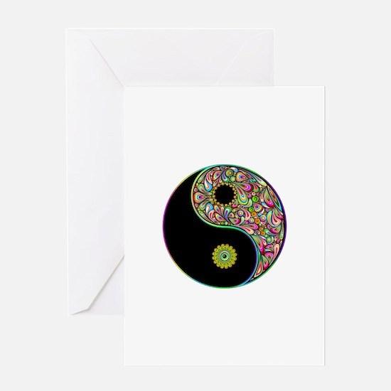 Yin Yang Symbol Psychedelic Colors Greeting Cards