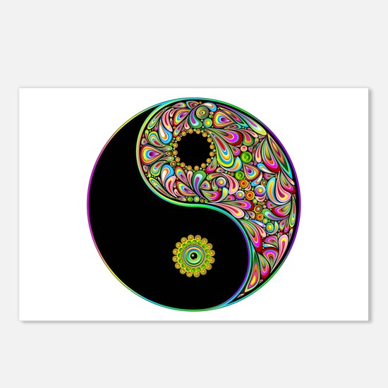 Yin Yang Symbol Psychedelic Colors Postcards (Pack