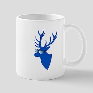 Blue Christmas deer with nerd glasses Mugs