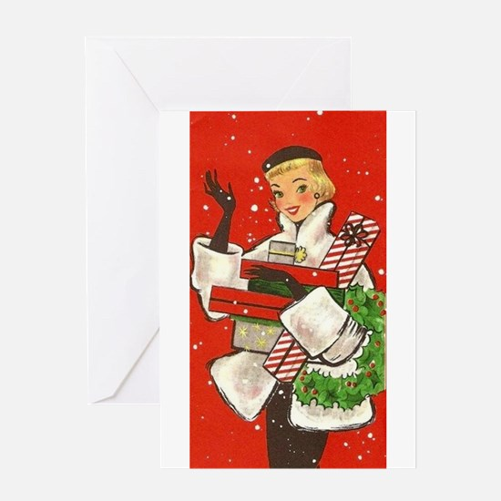 Vintage lady shoppping Greeting Cards