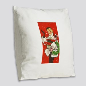 Vintage lady shoppping Burlap Throw Pillow