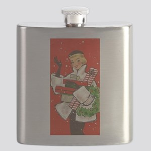 Vintage lady shoppping Flask
