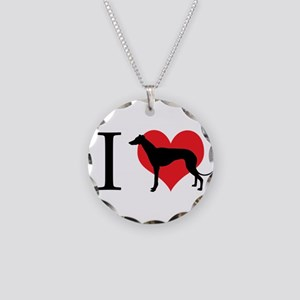I Love Galgos Necklace Circle Charm