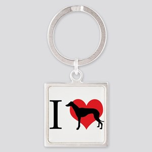 I Love Galgos Square Keychain