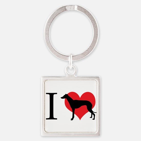 I Love Galgos Square Keychain