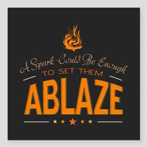 """A Spark Could Be Enough Square Car Magnet 3"""" x 3"""""""