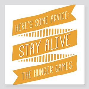 """Hand Drawn Stay Alive Square Car Magnet 3"""" x 3"""""""