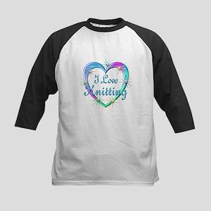 I Love Knitting Kids Baseball Jersey