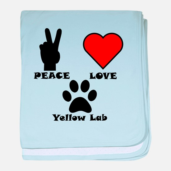 Peace Love Yellow Lab baby blanket