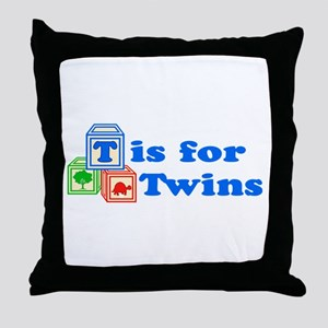 T is for Twins Throw Pillow