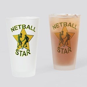 Netball Star Drinking Glass