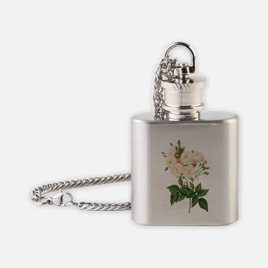 Vintage Blush Noisette Rose Redoute Flask Necklace