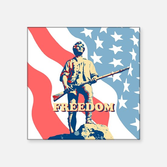 "Minute Man Freedom Square Sticker 3"" x 3"""