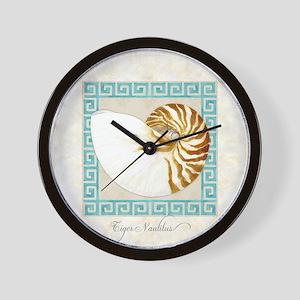 Tiger Nautilus Beach Seashell Greek Key Wall Clock