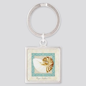 Tiger Nautilus Beach Seashell Gree Square Keychain