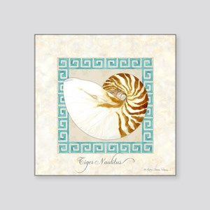 "Tiger Nautilus Beach Seashe Square Sticker 3"" x 3"""