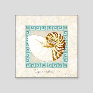 "Tiger Nautilus Beach Seashe Square Sticker 3"" x 3"""