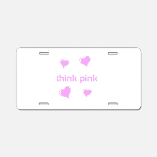 think pink, hearts Aluminum License Plate