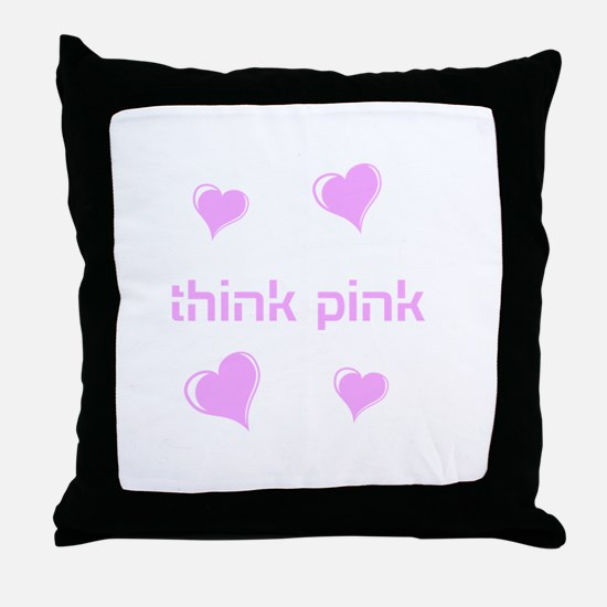 think pink, hearts Throw Pillow