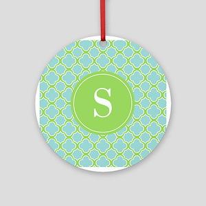 Quatrefoil Aqua Blue Green with Monogram Ornament
