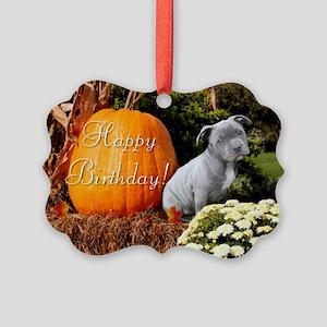 Happy Birthday Pitbull puppy Ornament