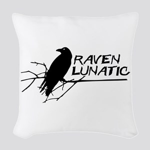 Raven Lunatic - Halloween Woven Throw Pillow