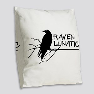 Raven Lunatic - Halloween Burlap Throw Pillow
