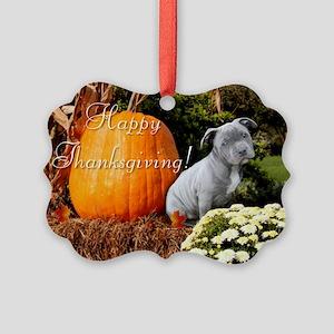 Thanksgiving Pitbull puppy Ornament