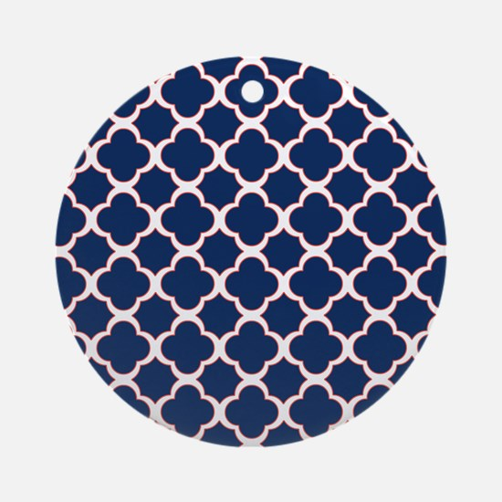 Quatrefoil Pattern Navy Blue White and Red Ornamen