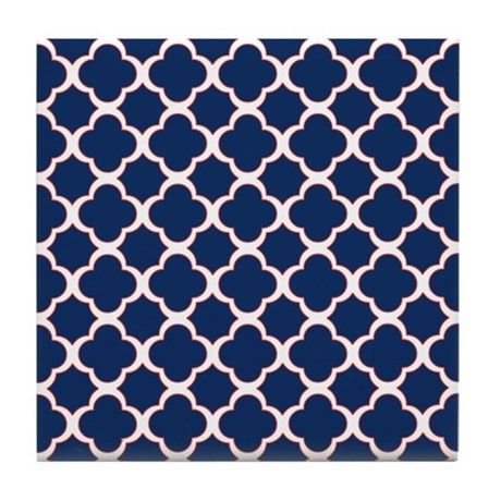 Quatrefoil Pattern Navy Blue White and Red Tile Co by ...