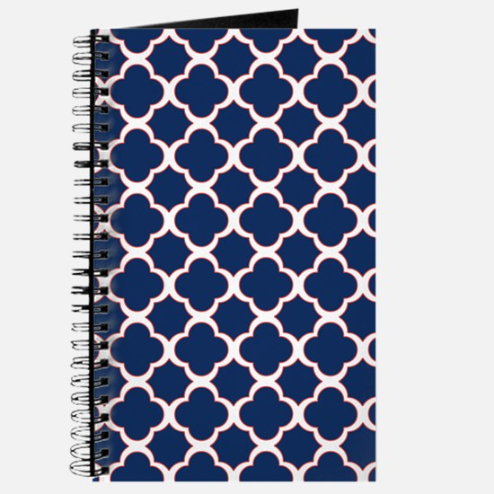 Quatrefoil Pattern Navy Blue White and Red Journal
