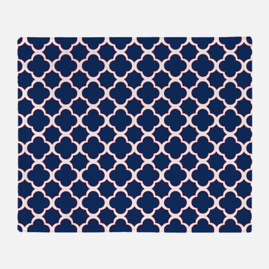 Quatrefoil Pattern Navy Blue White and Red Throw B