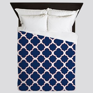Quatrefoil Pattern Navy Blue White and Red Queen D