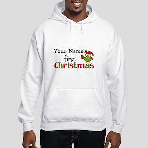 Custom Name 1st Christmas Owl Hooded Sweatshirt