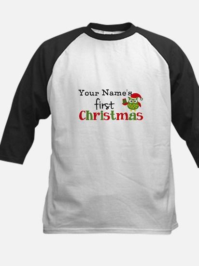 Custom Name 1st Christmas Owl Kids Baseball Jersey