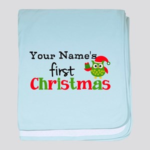 Custom Name 1st Christmas Owl baby blanket