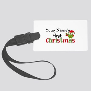 Custom Name 1st Christmas Owl Large Luggage Tag