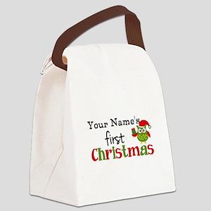Custom Name 1st Christmas Owl Canvas Lunch Bag
