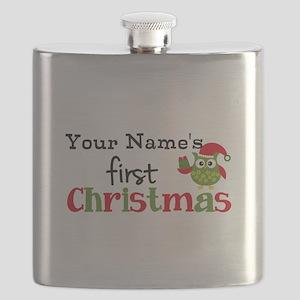 Custom Name 1st Christmas Owl Flask