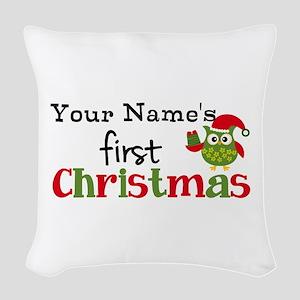 Custom Name 1st Christmas Owl Woven Throw Pillow