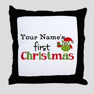 Custom Name 1st Christmas Owl Throw Pillow