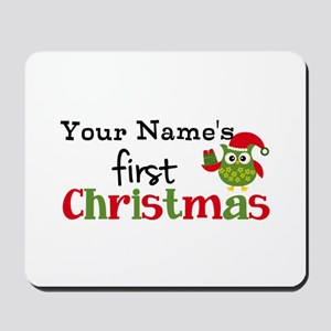Custom Name 1st Christmas Owl Mousepad