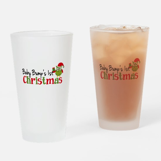 Baby Bump's 1st Christmas Owl Drinking Glass