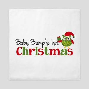 Baby Bump's 1st Christmas Owl Queen Duvet