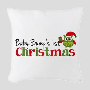 Baby Bump's 1st Christmas Owl Woven Throw Pillow