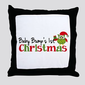 Baby Bump's 1st Christmas Owl Throw Pillow