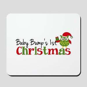 Baby Bump's 1st Christmas Owl Mousepad
