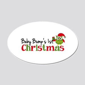 Baby Bump's 1st Christmas Owl 20x12 Oval Wall Deca