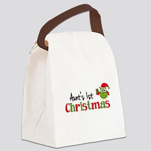 Aunt's 1st Christmas Owl Canvas Lunch Bag